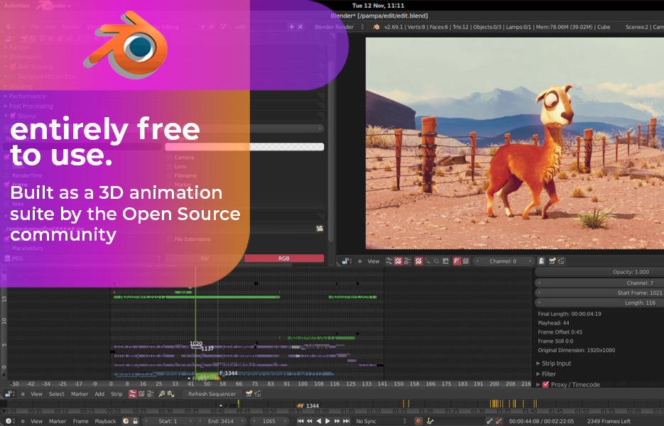 Screenshot of Blender Video Editing Software