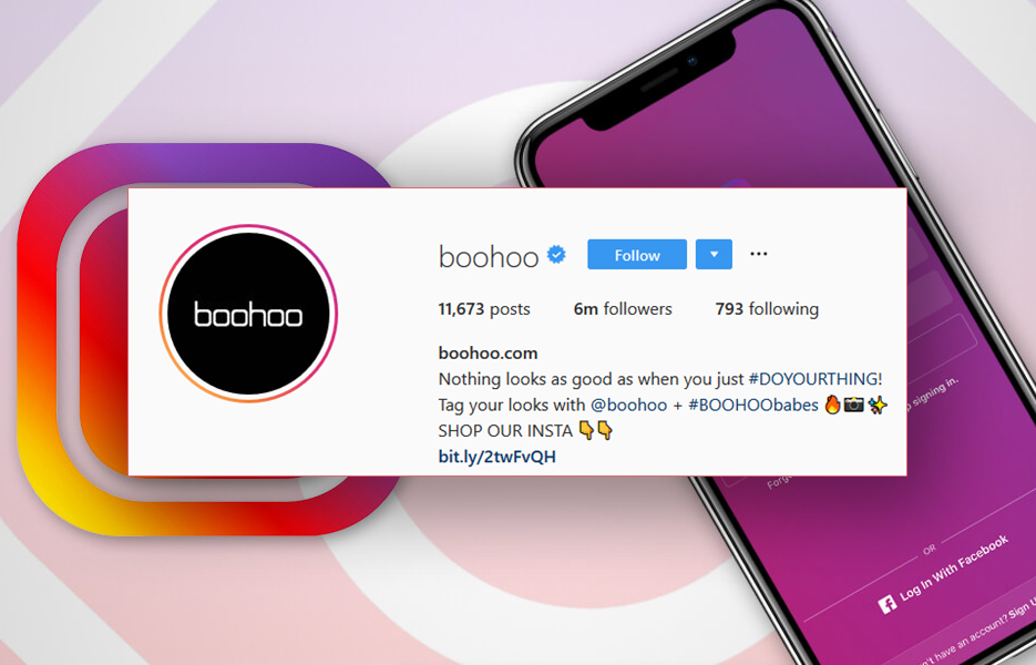 Boohoo.com Instagram bio screenshot
