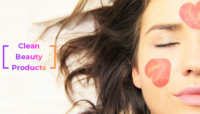 Woman with clean beauty products on her face