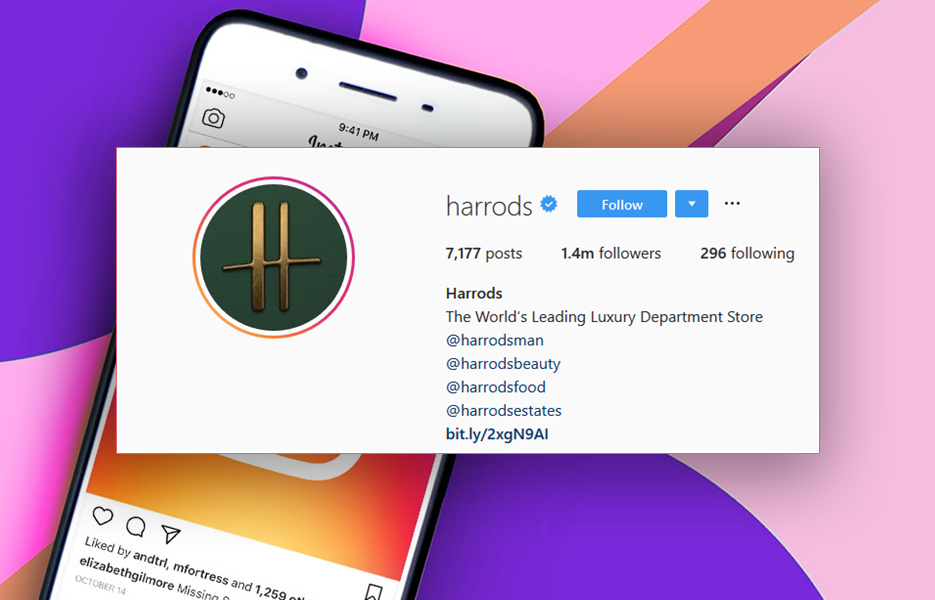 Harrods Instagram bio screenshot