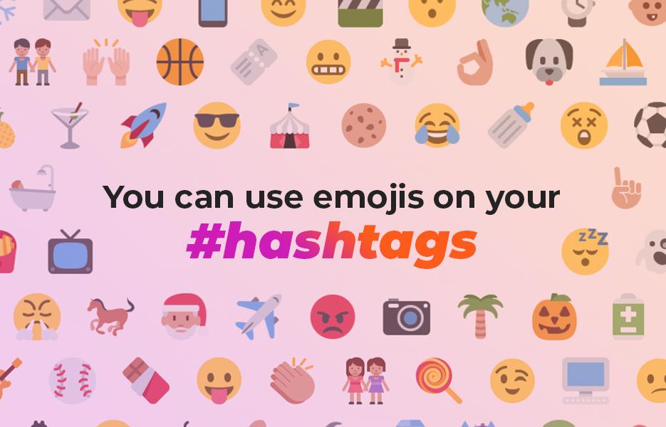 Using emoji hashtags