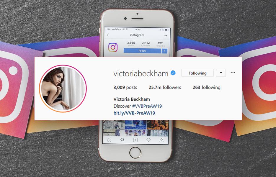 Victoria Beckham Instagram bio screenshot