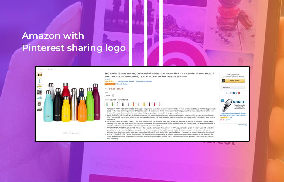 Screenshot of Amazon with Pinterest sharing logo