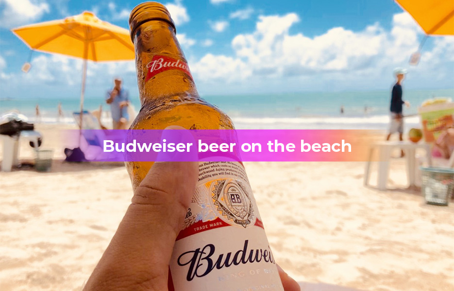 Budweiser beer on the beach