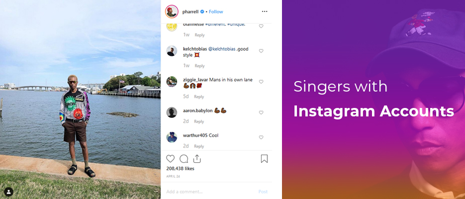 Singers with Instagram accounts