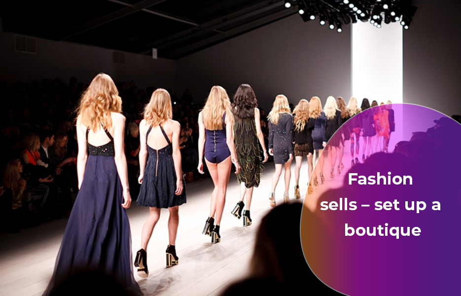 catwalk with fashion, models with dresses