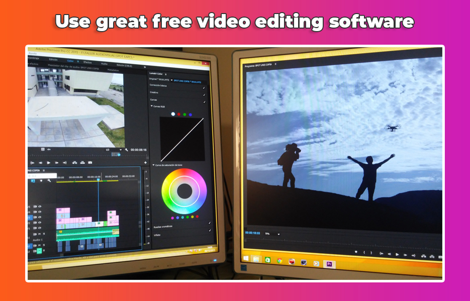 video editing across two screens