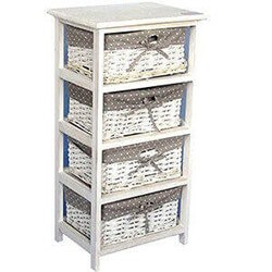 4 Tier Drawers Wooden Storage Cabinet Rack Wicker Baskets Bedroom Unit Furniture