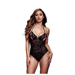 Black Lace Bodysuit Bra Slits Red Bow One Size Baci Lingerie Bw3112
