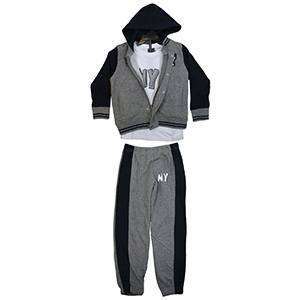 Kids Children Contrast Hoodie Long Sleeve T Shirt Top Trouser Tracksuit 3 Pcs