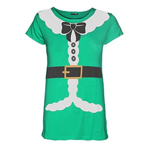 Kids Girls Christmas Xmas Santa Claus Father Suit Ribbon Belt Costume Tshirt Top