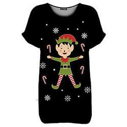 Womens Ladies Xmas Batwing Snowflakes Elf Candystick Oversized Baggy T Shirt Top