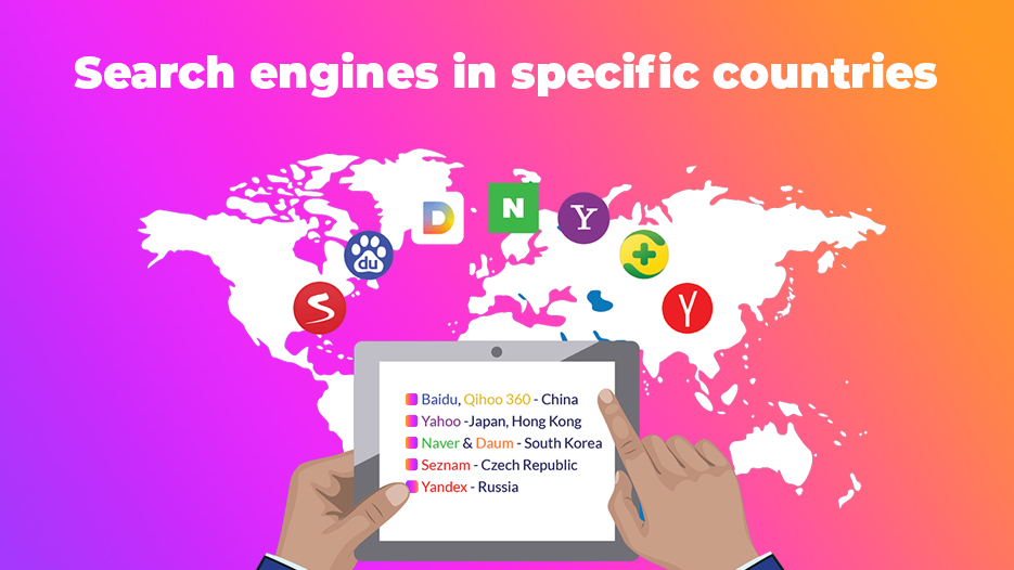 Search engines in specific countries