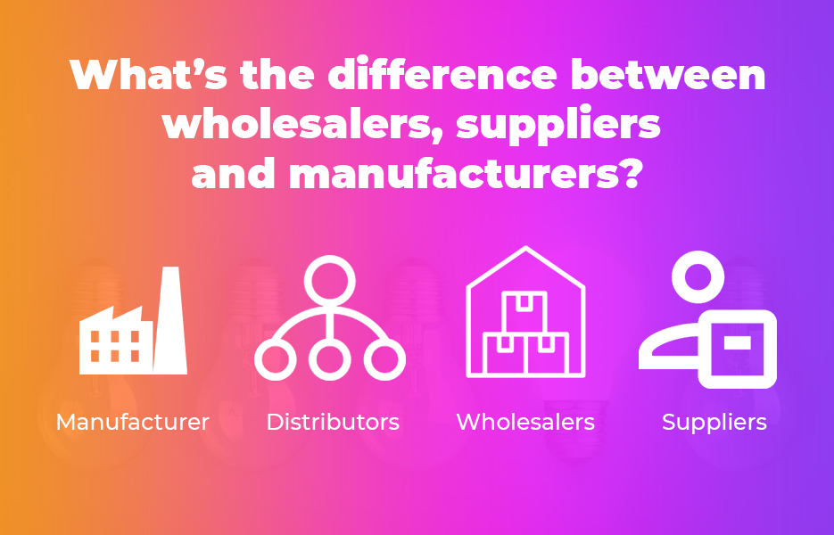 What's the difference between wholesalers, suppliers and manufacturers